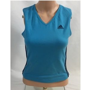 Adidas Athletic Tank Top Women Medium Blue V Neck